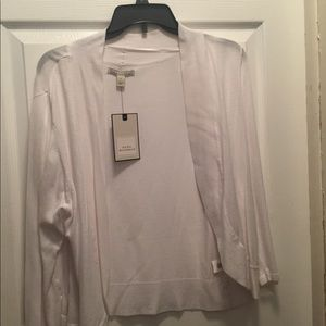 NWT Large White Open Front Sweater